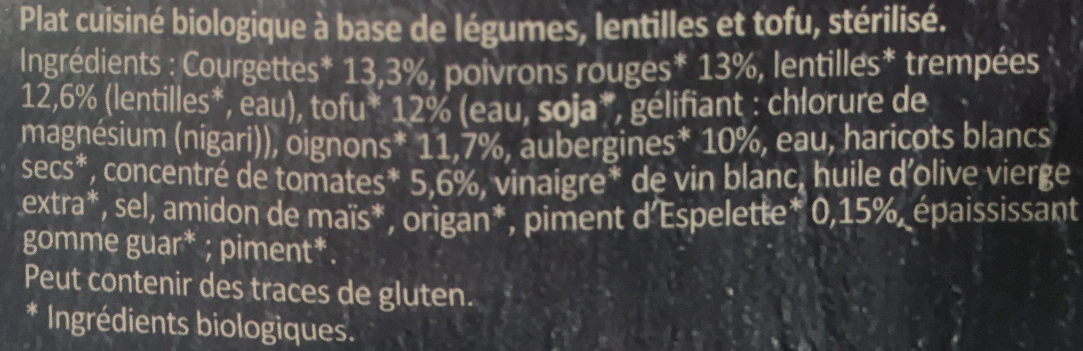 Ratatouille Lentilles et dés de tofu - Ingrédients - fr