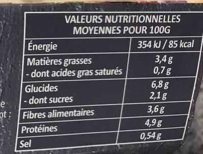 Ratatouille Lentilles et dés de tofu - Informations nutritionnelles - fr