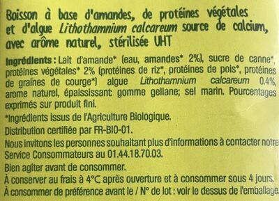 Nutri Amande protéine - Ingrédients - fr