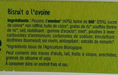 Croquants Avoine nature - Ingrediënten