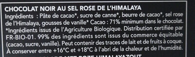 Chocolat noir sel rose de l'Himalaya - Ingredients - fr