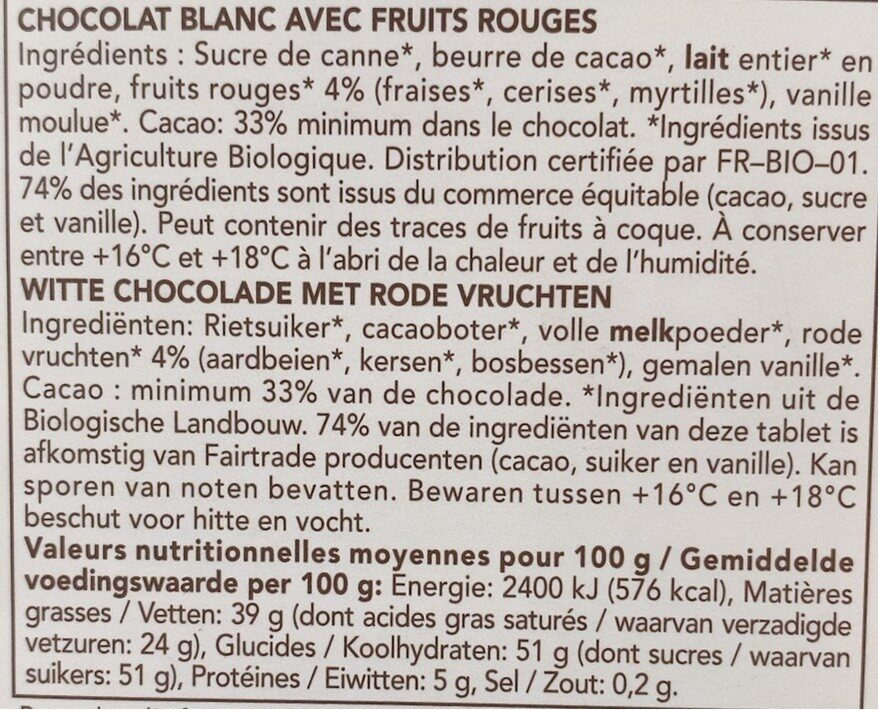Chocolat Blanc Fruits Rouges - 成分 - fr