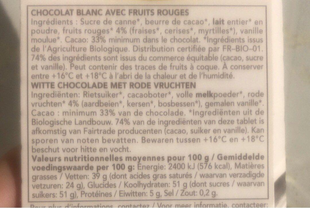 Chocolat Blanc Fruits Rouges - 营养成分 - fr