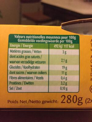 Riz au Lait - Informations nutritionnelles - fr