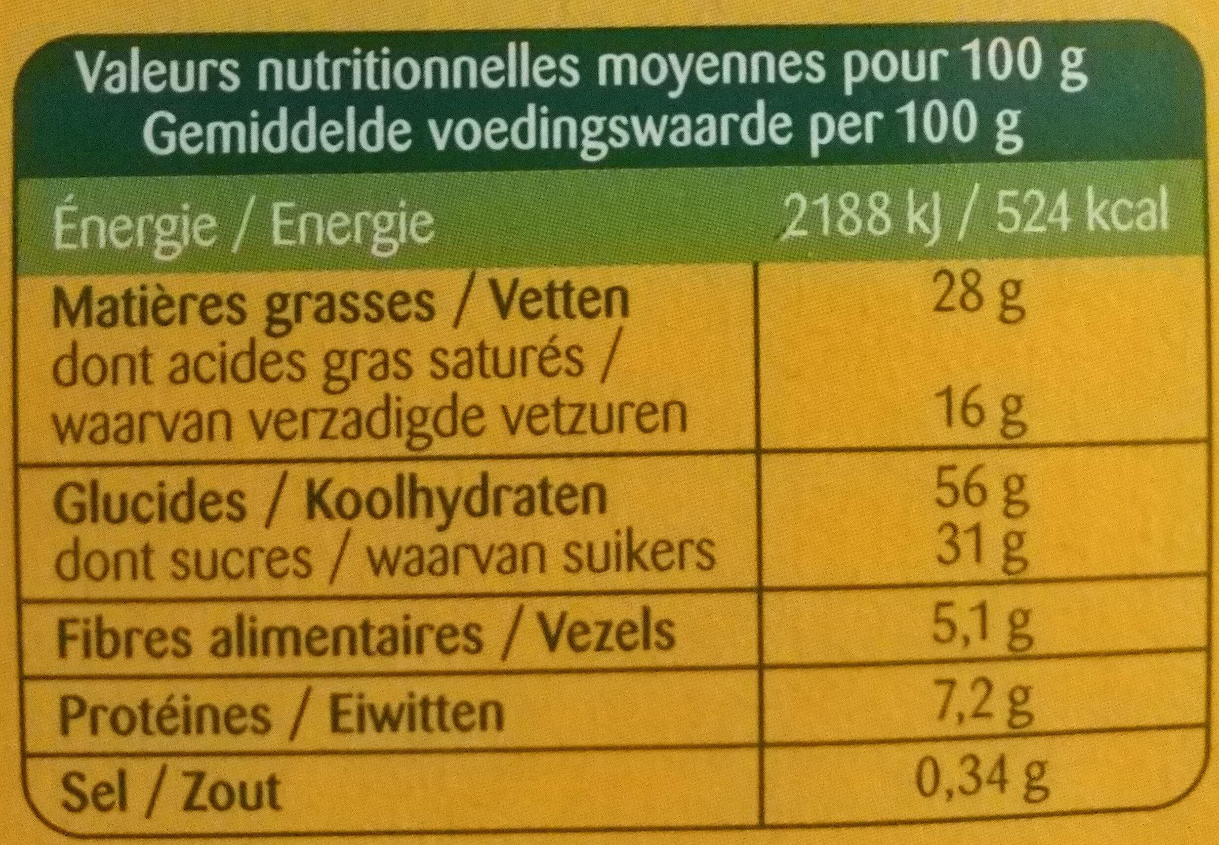Tartelettes au chocolat noir - Informations nutritionnelles - fr