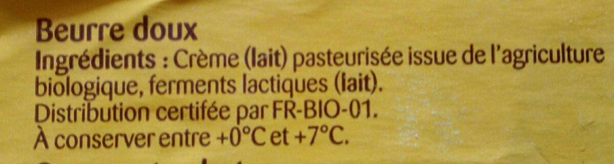 Beurre doux - Ingrediënten