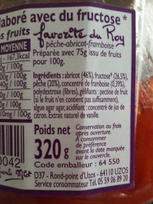 Fruits Mijotés, élaborés Avec Du Fructose - Favorite Du Roy - Ingrédients