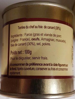Terrine du Chef au foie de Canard - Informations nutritionnelles - fr