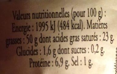Foie gras de canard entier du sud ouest - Informations nutritionnelles - fr