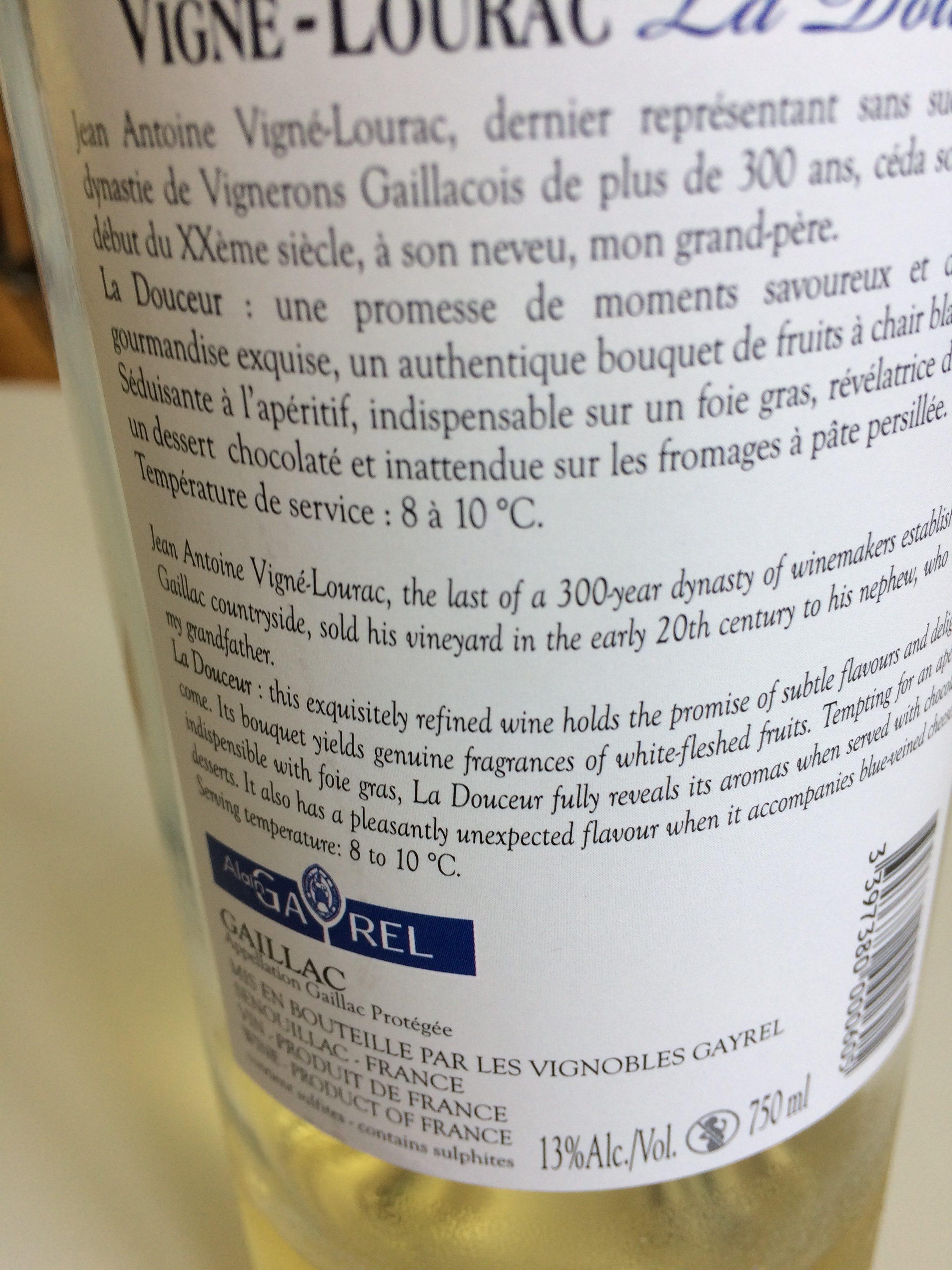 Bouteille De Vin Aoc Gaillac Blanc Doux 75 CL Douceur - Ingredients
