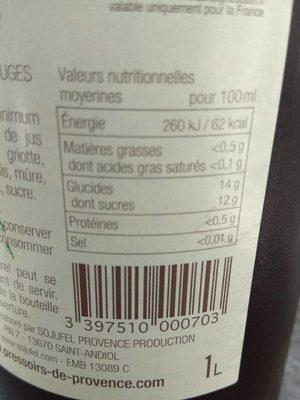 Cocktail de fruits rouges - Valori nutrizionali - fr