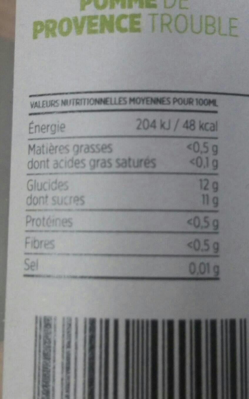 Pur jus Pomme de Provence Trouble - Nutrition facts - fr