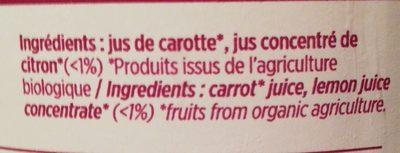 Jus de carotte - Ingredients