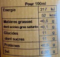 Nectar d'abricot - Valori nutrizionali - fr
