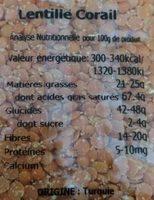 Lentilles corail bio - Informations nutritionnelles