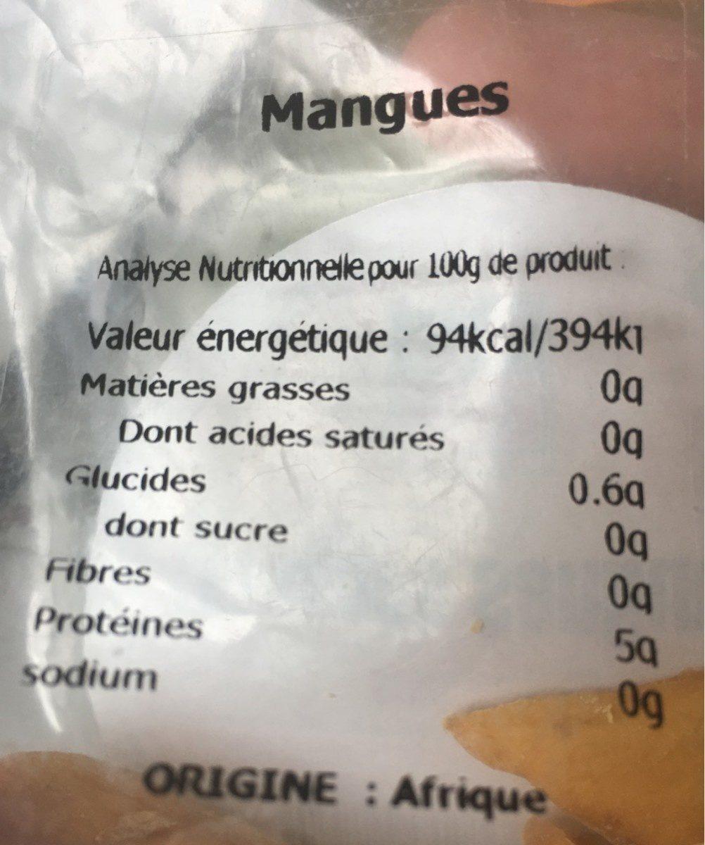 Mangues séchées - Voedingswaarden - fr