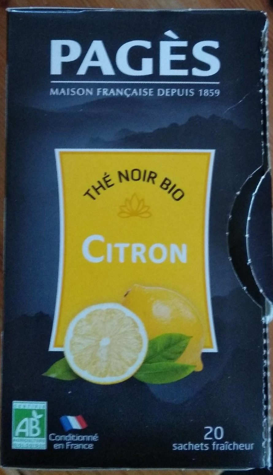 Thé noir bio citron - Product - fr