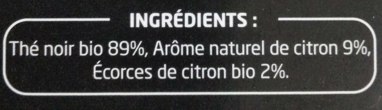 Thé noir bio citron - Ingredients - fr
