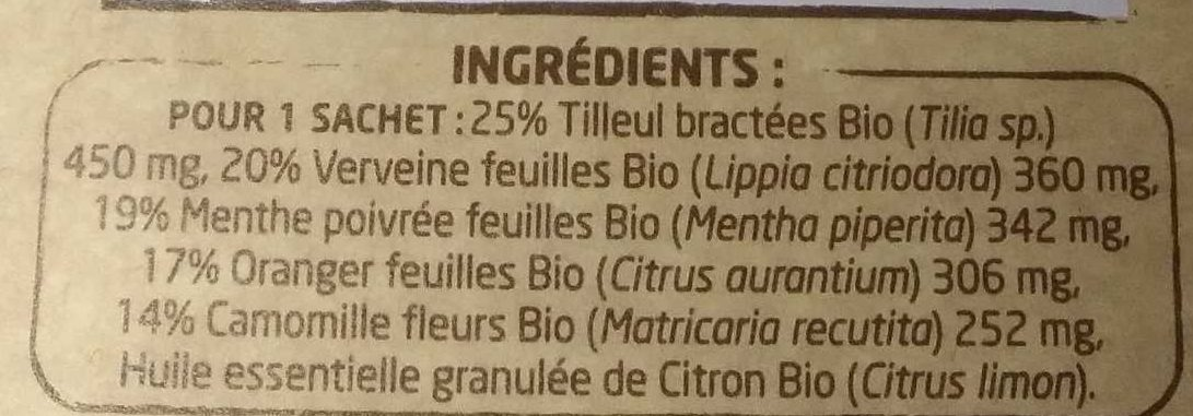 Infusion Bio Spéciale 5 Plantes - Inhaltsstoffe - fr
