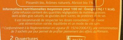 Infusion Bio Détox Romarin, Abricot - Nutrition facts - fr