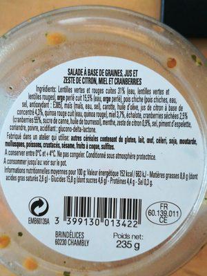 Salade multi-graines - Ingredients