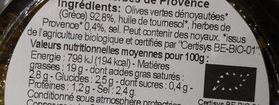 Olives vertes dénoyautées aux herbes de Provence - Informations nutritionnelles - fr