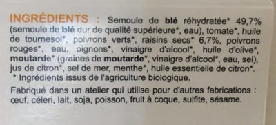 Taboulé aux raisins secs - Ingredients