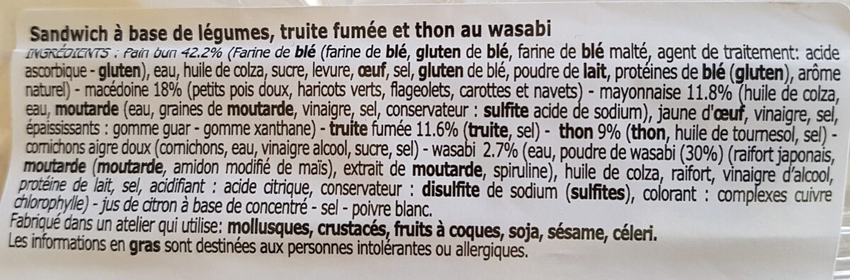 Bun thon, truite fumée et petits légumes au wasabi - Ingrédients