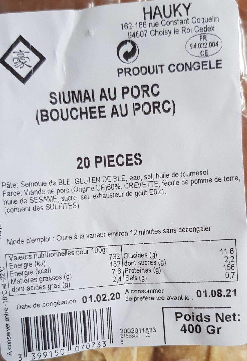 Siumai au porc - Nutrition facts - fr