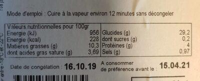 Hakao (Ravioli aux Crevettes) - Nutrition facts - fr