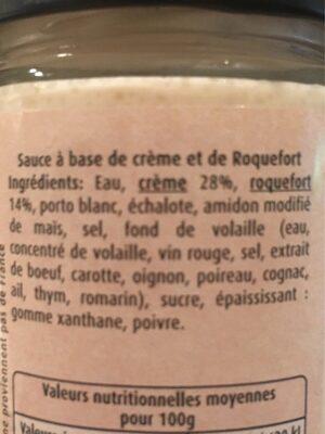 Sauce Roquefort - Ingredients