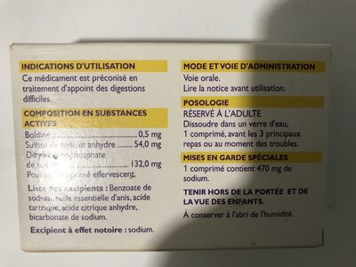Oxyboldine 24 Comprimés Effervescents - Ingrédients - fr