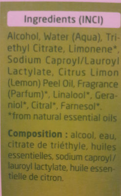 Citrus déodorant - Ingredients - fr
