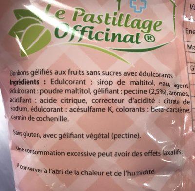 Estipharm Le Pastillage Officinal Fondants Aux Fruits Sans Sucres - Ingrédients - fr