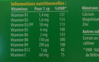 Beroccaboost 30 Comprimés - Informations nutritionnelles