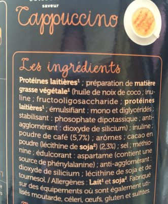 Protifast Preparation Pour Boisson Hyperproteinee Arome Cappuccino 500G (drink) - Ingrediënten