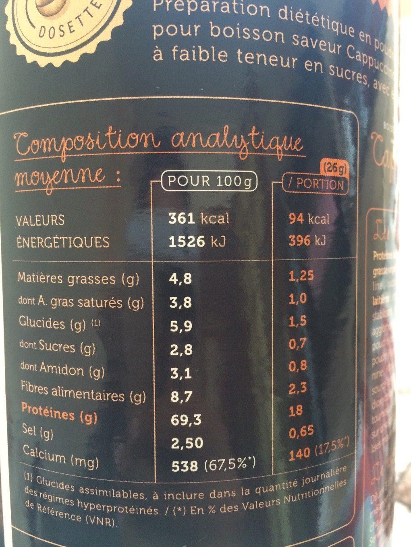 Protifast Preparation Pour Boisson Hyperproteinee Arome Cappuccino 500G (drink) - Voedingswaarden