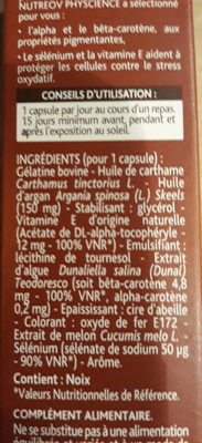 bronzage intégral peau normale - Informations nutritionnelles - fr
