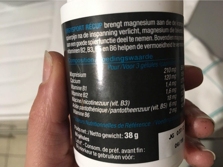 Ergysport Recup - 60 Gelules - Nutergia - Informations nutritionnelles - fr
