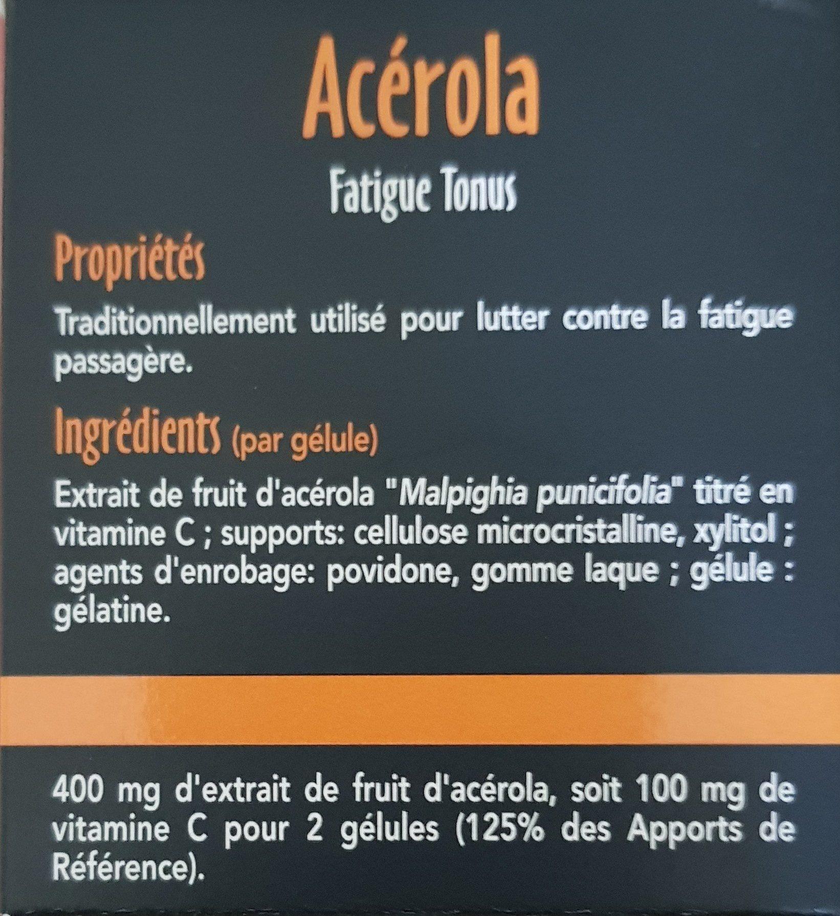 Sid Nutrition Acerola Fatigue Tonus 30 Gélules - Ingrédients