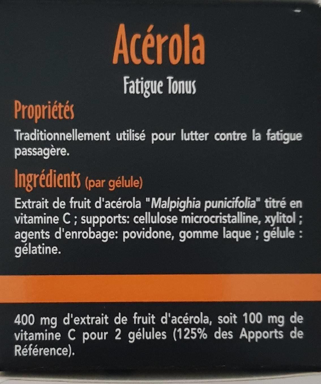 Sid Nutrition Acerola Fatigue Tonus 30 Gélules - Informations nutritionnelles