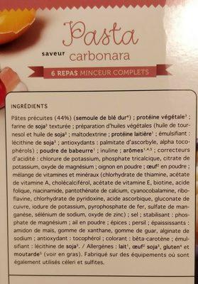 Pasta Saveur Carbonara - 6 Repas - Protifast - Inhaltsstoffe - fr