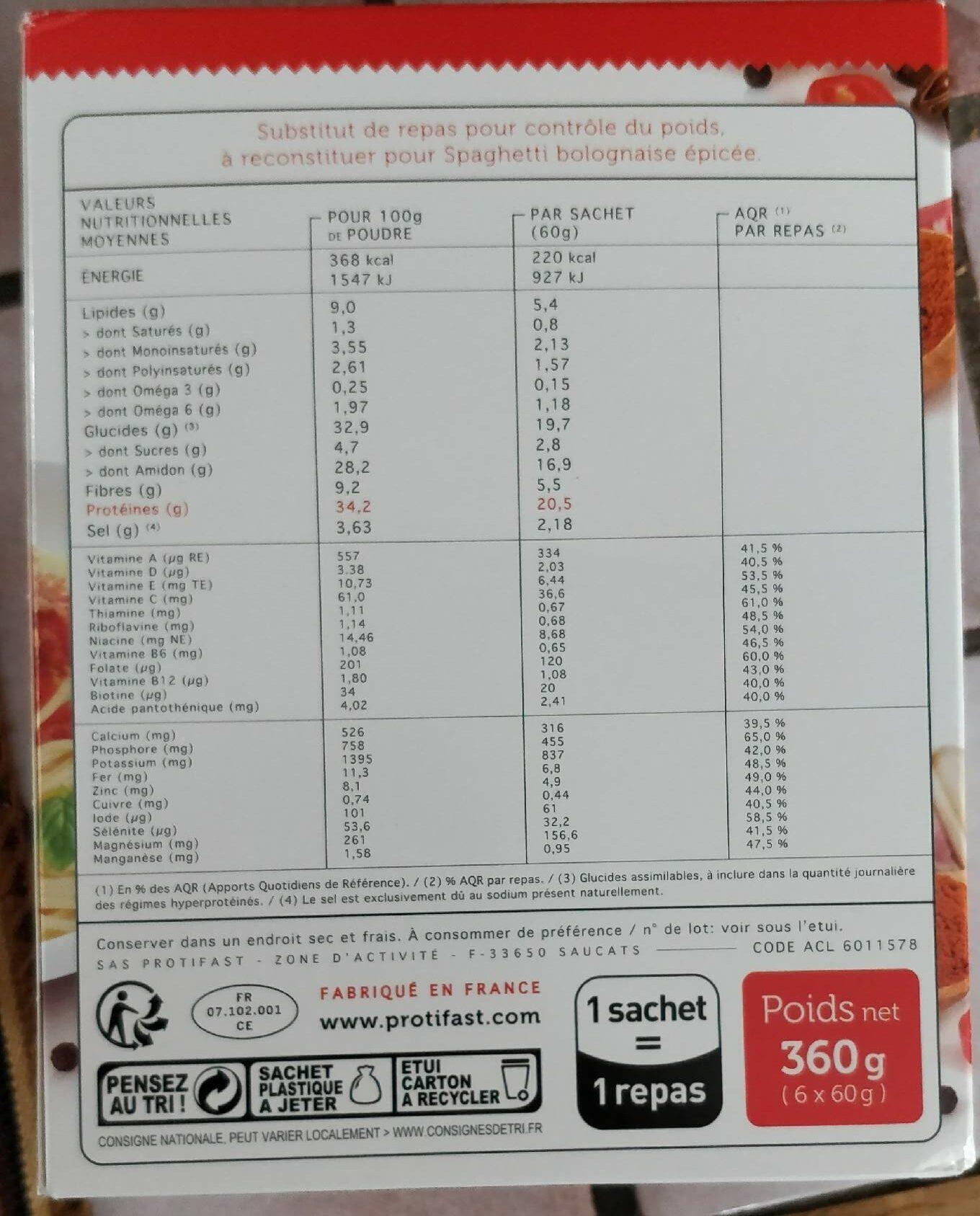 Spaghetti Saveur Bolognaise épicée - 6 Repas - Protifast - Informations nutritionnelles - fr
