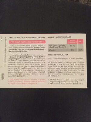 Serelys - Nutrition facts
