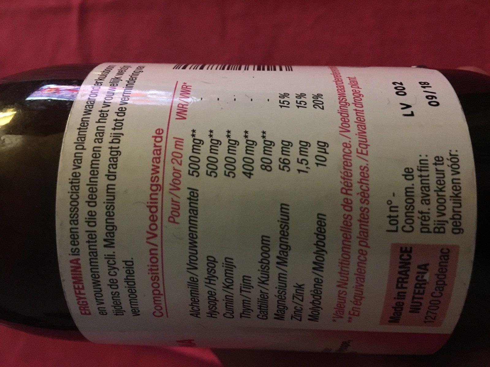 Ergyfemina Ménopause - 250 ML - Nutergia - Ingrediënten