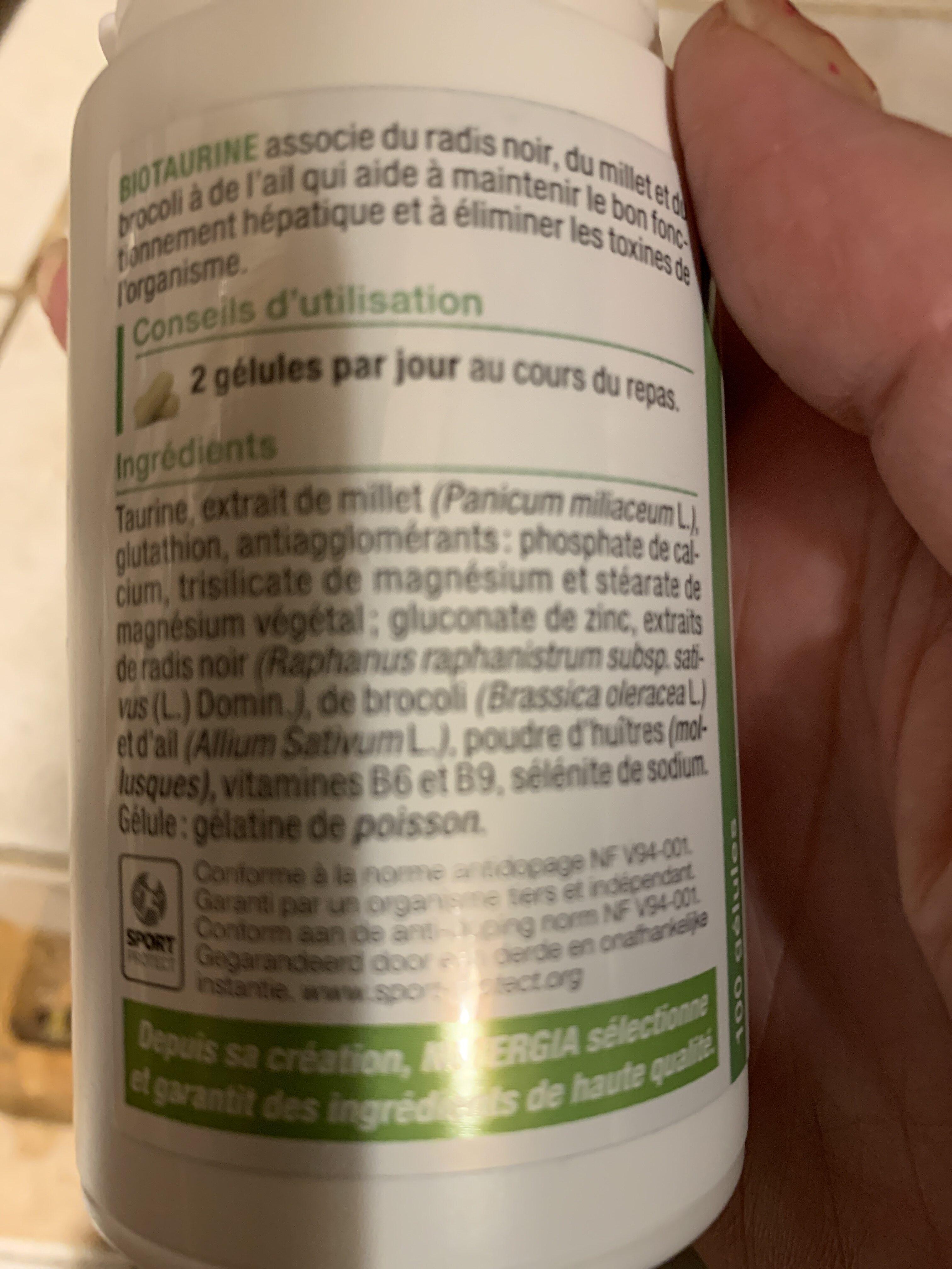 Bio taurine - Informations nutritionnelles - fr