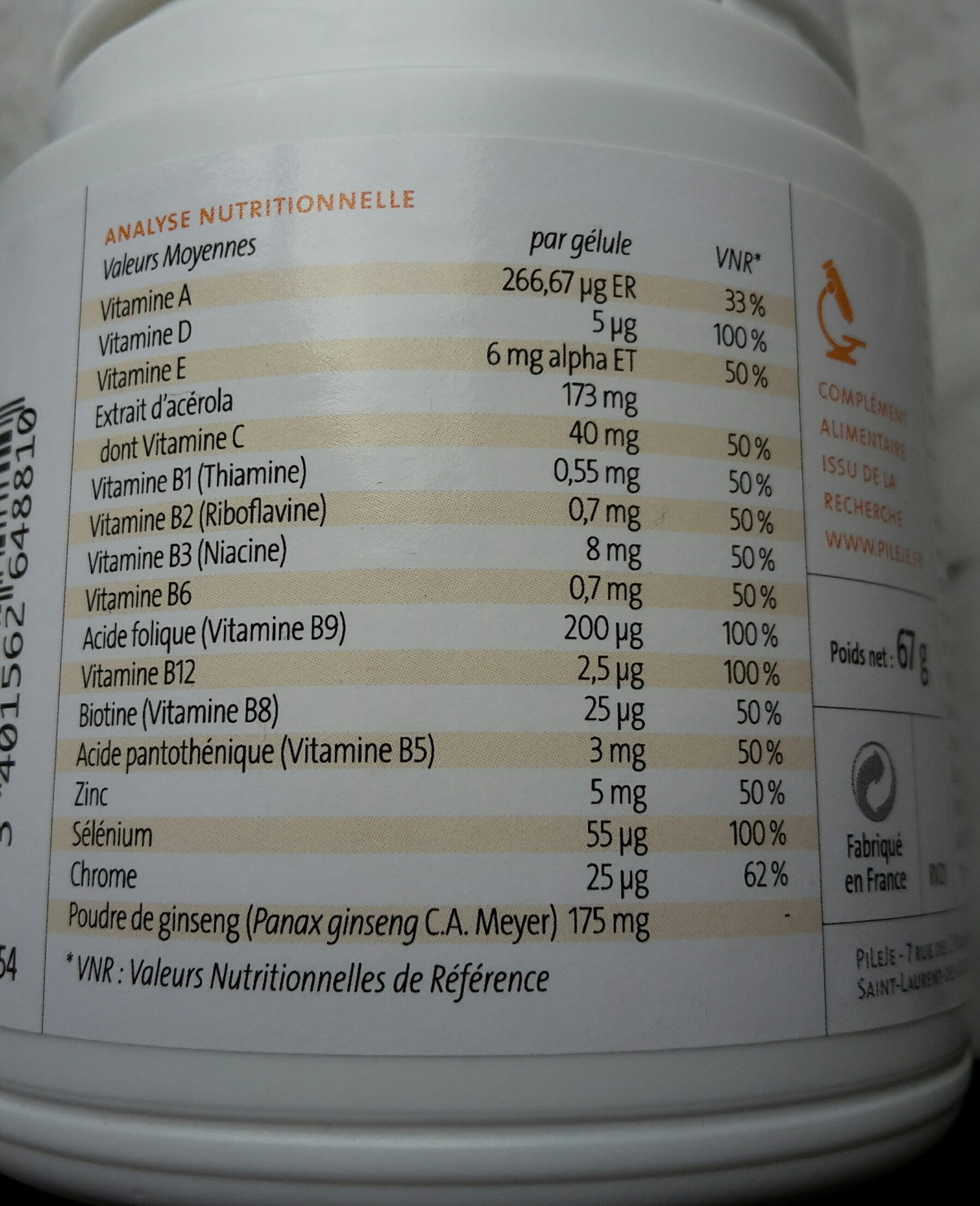 Multibiane - Nutrition facts