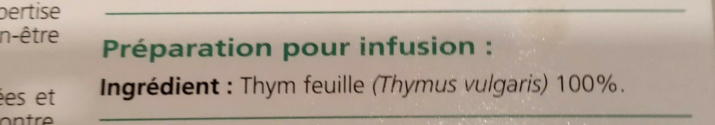 Médiflor Infusions Thym 24 Sachets - Ingrédients - fr