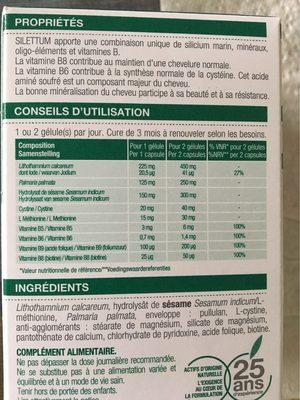Silettum Croissance Cheveux 60 Gélules - Informations nutritionnelles - fr