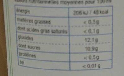 Jus Pomme Kiwi - Informations nutritionnelles - fr